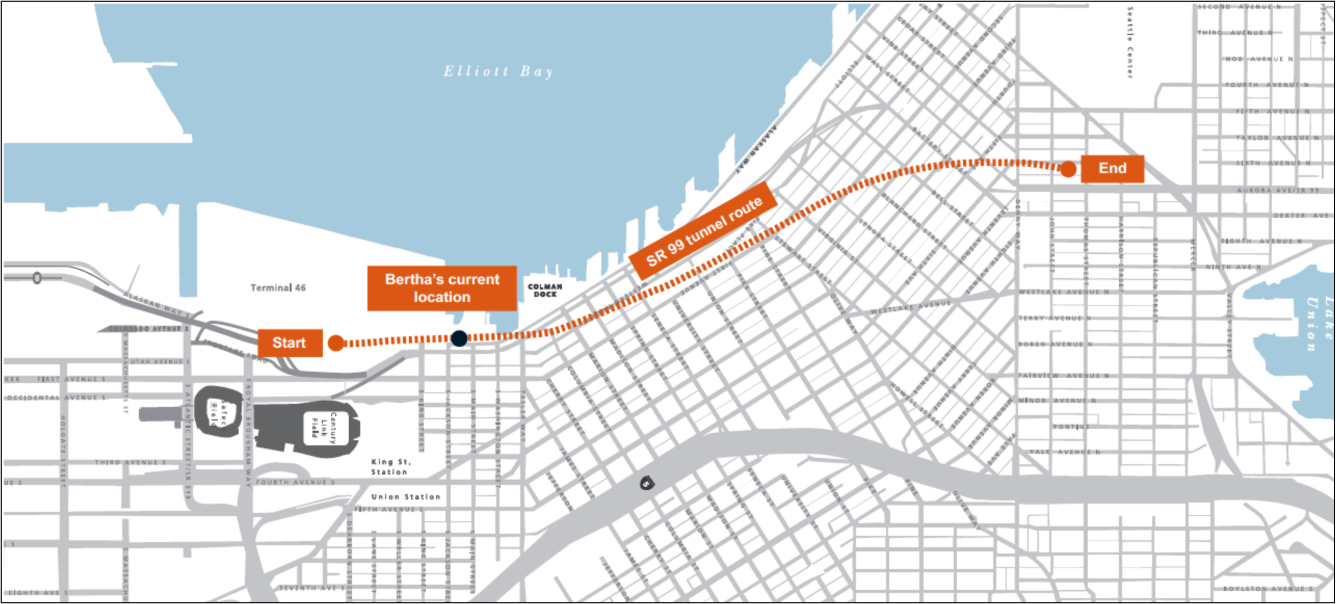 A street map of Seattle shows the construction route of the SR99 tunnel. (Credit: WSDOT)