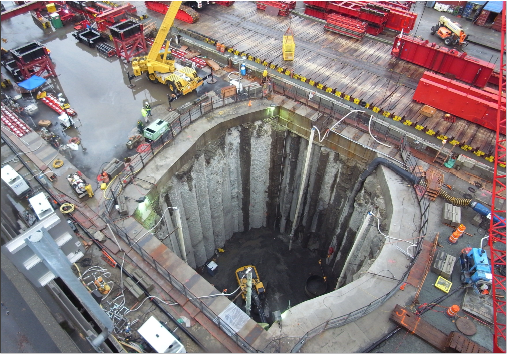 A large rescue shaft was excavated to make repairs on the failed tunnel-boring machine. (Credit: WSDOT)