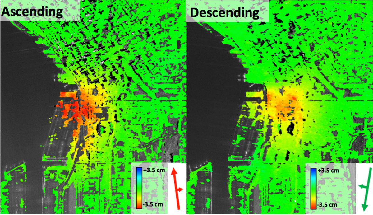 Comparative images show line-of-sight cumulative deformation for two data stacks (2012/06/06 – 2015/02/15). (Credit: © MDA Geospatial Services Inc.  – All Rights Reserved.)