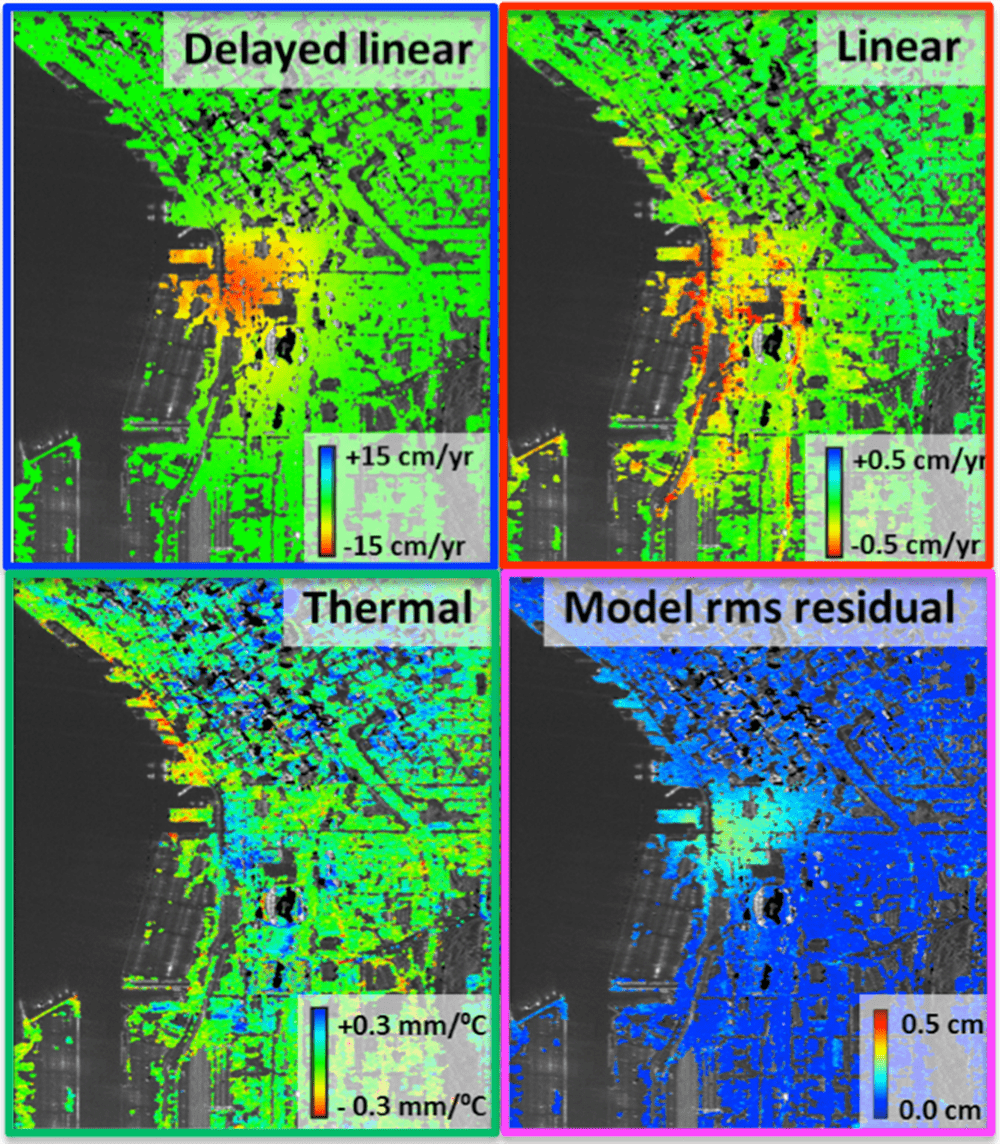Images show three component coefficient maps and the model residual Root Mean Square error map for the vertical deformation component. (Credit: © MDA Geospatial Services Inc.  – All Rights Reserved.)