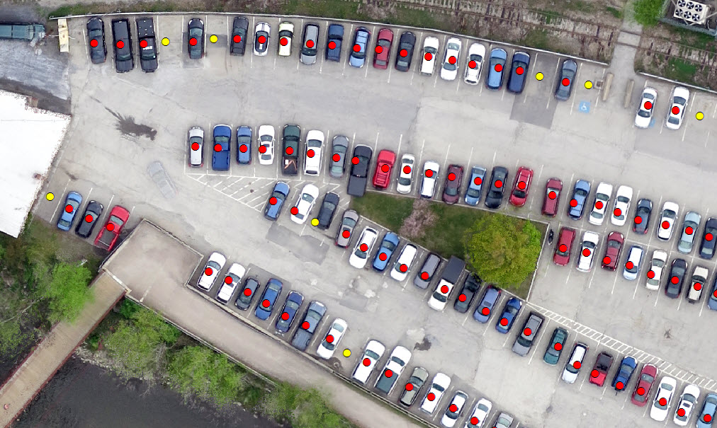 Parking-occupancy automated output is displayed over UAS imagery (red for occupied, yellow for vacant). The automated routine was highly successful, but poor parking did affect the algorithm, such as the incorrectly identified vacant location in the image's center.