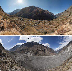 Photographs of Nepal's Lantang Valley in 2012 (above) and 2015 (below) demonstrate the effects of one of the landslides caused by the April 2015 earthquake. (Credit: David Breashears/GlacierWorks)
