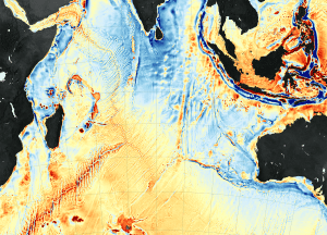 A new seafloor map shows gravity anomalies in the western Indian Ocean. Shades of orange and red represent areas where seafloor gravity is stronger (in milligals) than the global average, a phenomenon that mostly coincides with the location of underwater ridges, seamounts and the edges of Earth's tectonic plates. The darkest shades of blue represent areas with the lowest gravity, corresponding to the deepest troughs and trenches in the ocean. (Credit: NASA Earth Observatory maps by Joshua Stevens, using data from Sandwell, D. et al. (2014))
