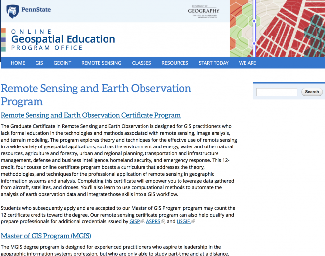 Penn State Offers Online Earth-Observation Education « Earth Imaging ...