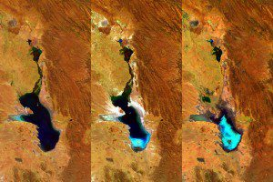 Three 100-meter-resolution Proba-V images were acquired on April 27, 2014; July 20, 2015; and Jan. 22, 2016; detailing the evaporation of Bolivia's shallow Lake Poopó. The bluish region in Proba-V's most-recent image shows dried-up salt flats in the southern part of the lake. (Credit: ESA/Belspo – produced by VITO)
