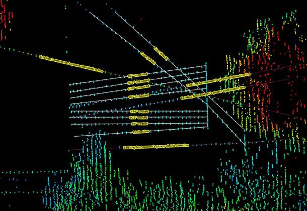 "A ""wire test"" details the sensitivity of the Optech Orion C200 sensor on a clothesline with multiple categories of lines. The point-cloud data are classified to only show first-of-many LiDAR point returns."