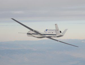 NASA's Global Hawk UAS is part of a mission to track storms developing in the Pacific Ocean to better predict severe West Coast weather. (Credit: NASA Photo/Carla Thomas)