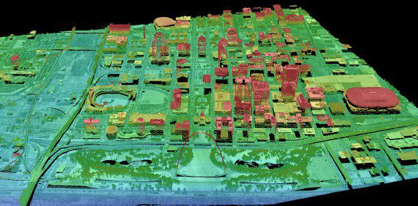 Figure 2. A lidar point cloud was collected of St. Louis and its many structures. (Credit: USGS)
