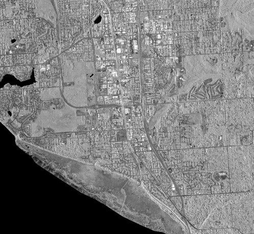 Figure 4. A five-meter orthorectified intensity ifsar image of Alaska shows additional detail. (Credit: USGS)