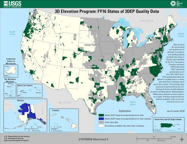 Figure 5. A map shows the FY16 status of available 3DEP data. (Credit: USGS)