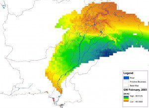 Pakistan water managers used NASA GRACE satellite data to produce this map of monthly groundwater changes in the Indus River Basin. Orange and yellow indicate groundwater depletion, while blue and green highlight areas where groundwater is being replenished. (Credit: Pakistan Council of Research in Water Resources)