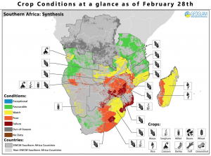 A crop-condition map synthesizes information for all EWCM crops as of Feb. 28, 2016. Crop conditions over the main growing areas are based on a combination of inputs including remotely sensed data, ground observations, field reports, and national and regional experts. (Credit: GEOGLAM)