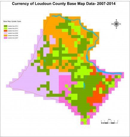 A polygon map shows the currency of Loudoun County base map data ranging from 2007-2014.