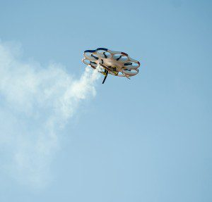 Drone America's DAx8 multi-rotor aircraft deploys two cloud-seeding flares during a recent flight test in Reno, Nevada. (Credit: Kevin Clifford/Drone America)