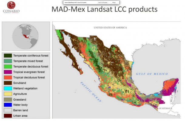 The Landsat data generates countrywide land cover maps at a scale of 1:100,00 with 9 land-cover classes. The RapidEye data generates maps of 1:20,000 with more than 45 land-cover classes.
