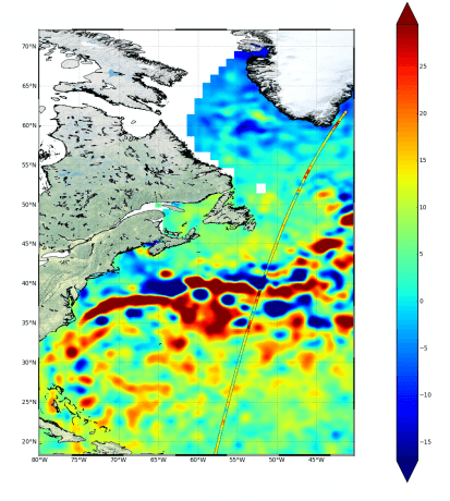 This is the first track measured by Sentinel-3A's Synthetic Aperture Radar Altimeter immediately after it was switched on. The instrument will be vital for monitoring changes in surface ocean waters, sea-state and sea-ice thickness. (Credit: Copernicus data (2016)/CMEMS)