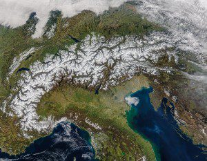 The MODIS sensor on NASA's Terra satellite acquired this nearly cloud-free image of the Alps on March 20, 2016. (Credit: NASA image by Jeff Schmaltz, LANCE/EOSDIS Rapid Response)