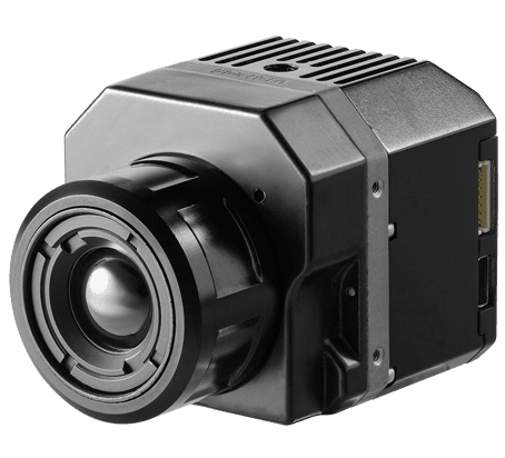 The FLIR Vue Pro camera can be controlled via smartphone over a Bluetooth wireless connection to select color palettes, start and stop recording, and trigger the camera's e-zoom function.
