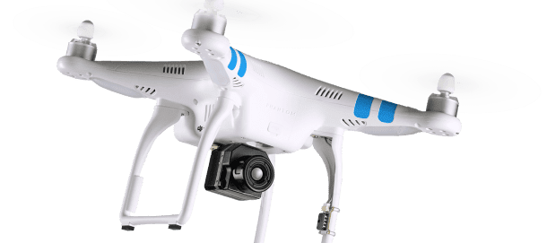 A FLIR Vue Pro camera has been mounted to a DJI Phantom quadcopter. With the ability to add GPS coordinates and flight data, the system can be used more easily for mapping, surveying and precision agriculture.