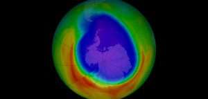 Scientists used observations from NOAA's North American air-sampling network to track surprisingly high levels of carbon tetrachloride (CCl4), a banned chemical known to deplete the ozone layer (pictured). (Credit: NASA)
