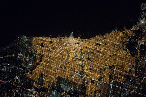 A photograph from the International Space Station taken on April 5, 2016, shows Chicago at night, with Lake Michigan at the top of the image. (Credit: NASA)