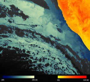 "This image published on April 5, 2016, the first using Sentinel-3A's SLSTR thermal-infrared imager, shows the ""brightness temperature"" that corresponds to radiation emitted from the surface. (Credit: Contains modified Copernicus Sentinel data [2016])"