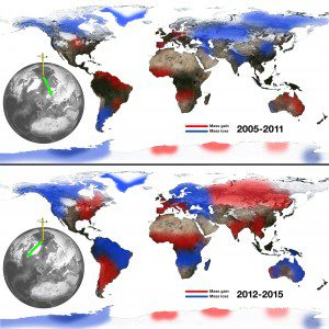 A figure shows the relationship between continental water mass and the east-west wobble in Earth's spin axis. Losses of water from Eurasia correspond to eastward swings in the general direction of the spin axis (top), and Eurasian gains push the spin axis westward (bottom). (Credit: NASA/JPL-Caltech)