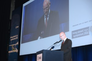 Czech Prime Minister Bohuslav Sobotka spoke at the opening session of the Living Planet Symposium 2016 in Prague. (Credit: ESA/M. Akad)