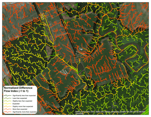 Normalized Difference Flow Index (NDFI) mapping can be used to better understand how certain landscapes impact water quality and can help direct conservation and restoration projects to areas where they will create the greatest benefits.