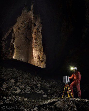 At a large cathedral-shaped chamber at the bottom of the cave, the exploration team began collecting a 3D laser scan of the space. Each new position was carefully chosen so the new scan would overlap with a previous scan. (Credit: Robbie Shone)