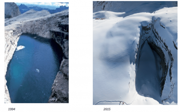 When the glacial Lake of the Two Forks (left) suddenly drained in 1994, it left the Abyss of Cenote (right), which has a volume of more than 200,000 cubic meters. (Credit left: Tommasi Santagata; right: Tommasi Santagata)