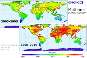 Maps show atmospheric levels of methane from 2003-2005 and 2008-2010, showing  increased concentrations in the latter dataset (in red). (Credit: IUP, University of Bremen/SRON/JPL/ESA/DLR)
