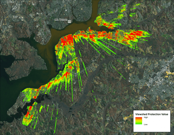 A LiDAR-based viewshed analysis illustrates the importance of the landscape for visually screening development to help managers protect the viewshed of George Washington's Mount Vernon.