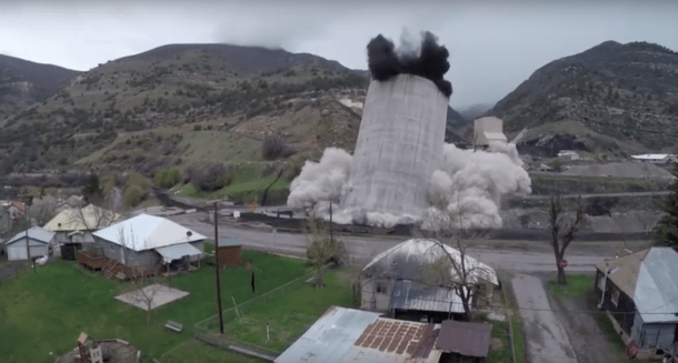 A freeze-frame of Huntley's silo-demolition video shows the tower starting to collapse. (Credit: Steve Huntley)