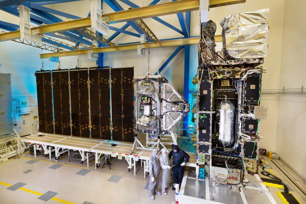 A deployment test of the GOES-R Solar Array Wing Assembly was conducted at Lockheed Martin Space Systems on May 5, 2015. (Credit: Lockheed Martin)