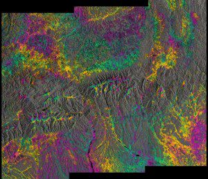 This 'interferogram' combines a Sentinel-1A radar scan from June 9, 2016, over southern Romania with a Sentinel-1B acquisition from June 15, 2016, over the same area. Bucharest is near the lower right corner, and the color pattern is related to local terrain topography. (Credit: Contains modified Copernicus Sentinel data (2016)/ESA/Norut)