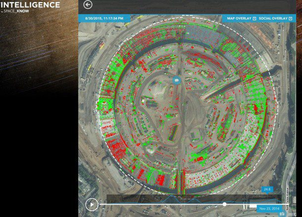 Spaceknow Analytics uses change detection to map construction at the Apple Campus. (Credit: Spaceknow & DigitalGlobe)
