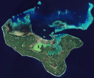 In May 2016, the ESA Sentinel-2A satellite captured this spectacular image of the island of Tongatapu and nearby smaller islands. (Credit: Contains modified Copernicus Sentinel data (2016), processed by ESA)