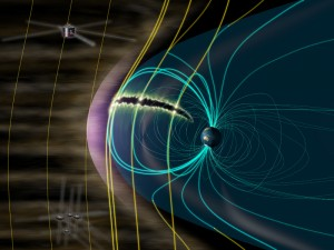 An artist rendering describes the GEOTAIL and MMS missions and how Earth's magnetosphere absorbs the energy of the solar wind. (Credit: ISAS/JAXA)