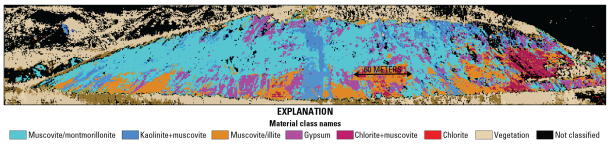 An outcrop mineral-classification map was generated from 30-centimeter-resolution data collected using a HySpex spectrometer. The different colors indicate a predominance of clays, muscovite and gypsum across the hillside.