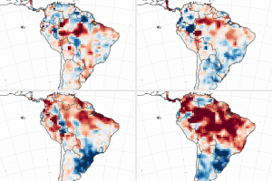 Maps show the accumulated deficit in surface and underground water storage in 2016 and other recent drought years, as reported by the Global Precipitation Climatology Centre. Shades of red depict areas where rainfall has been below normal, while blues were above normal. (Credit: NASA Earth Observatory images by Joshua Stevens, using data courtesy of Yang Chen, University of California Irvine, and the Global Precipitation Climatology Centre)