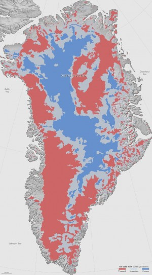 A map showing which parts of the bottom of the Greenland Ice Sheet are likely thawed (red), frozen (blue) or still uncertain (gray) will help scientists better predict how the ice will flow in a warming climate. (Credit: NASA Earth Observatory/Jesse Allen)