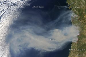The Moderate Resolution Imaging Spectroradiometer on NASA's Terra satellite captured this image of smoke and fire along Portugal's coast on Aug. 11, 2016. (Credit: NASA image by Jeff Schmaltz, LANCE/EOSDIS Rapid Response)