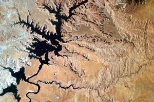 Located on the Colorado River, Lake Powell is the second largest artificial reservoir in the United States. (Credit: NASA/EarthKAM.org)