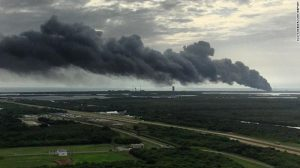 The SpaceX explosion from a distance. (Credit: CNN)