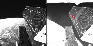 A picture shows Sentinel-1A's solar array before and after the impact of a millimeter-size particle on the second panel. The damaged area has a diameter of about 40 centimeters, which is consistent with the impact of a fragment less than 5 millimeters in size. (Credit: ESA)