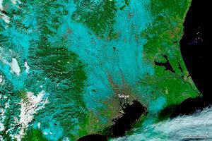 A false-color image from NASA's Terra satellite shows a stark contrast between snow (blue) and clouds (white). (Credit: NASA Earth Observatory image by Joshua Stevens, using MODIS data from LANCE/EOSDIS Rapid Response.)